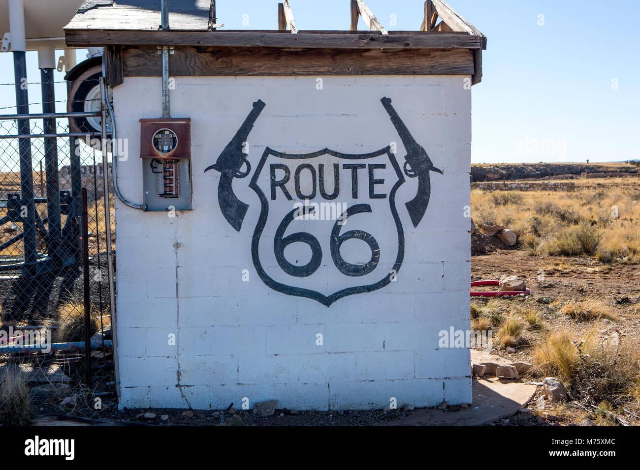 Zwei Gewehre, Route 66 Stockbild