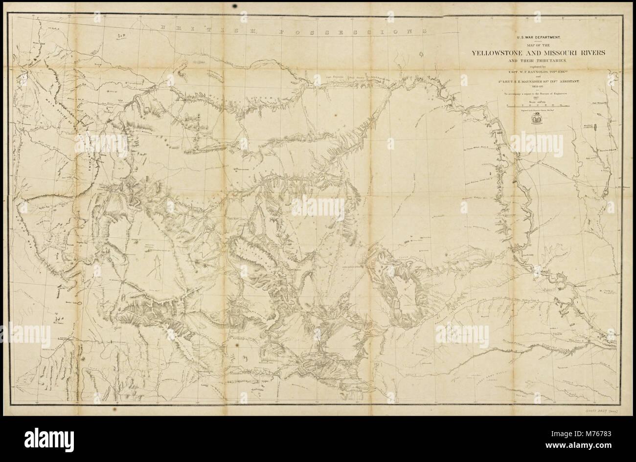 Yellowstone Karte.Karte Der Yellowstone Und Missouri Flüsse Und Ihre Nebenflüsse