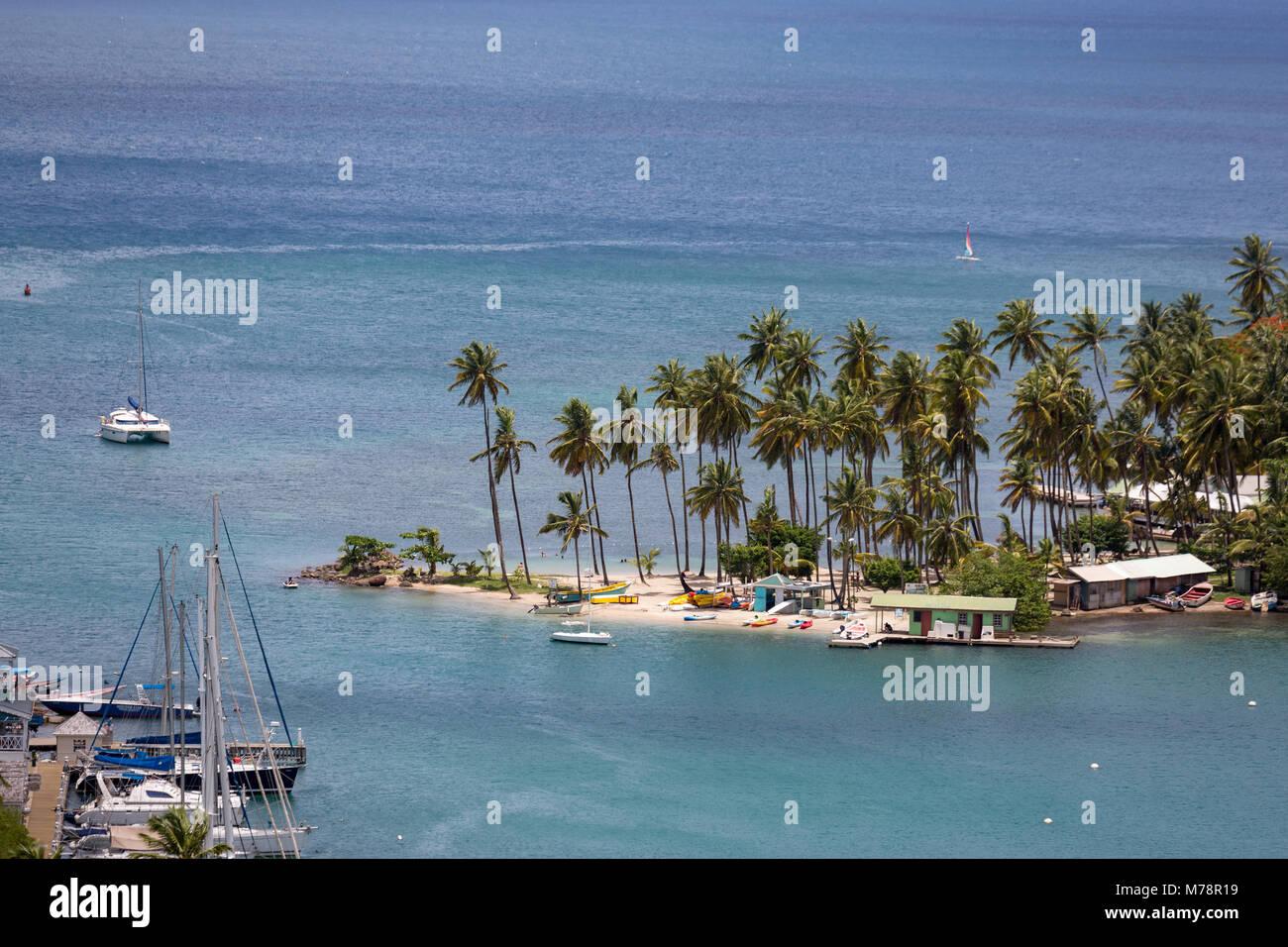 Die großen Palmen auf dem kleinen Strand in Marigot Bay, St. Lucia, Windward Islands, West Indies Karibik, Stockbild