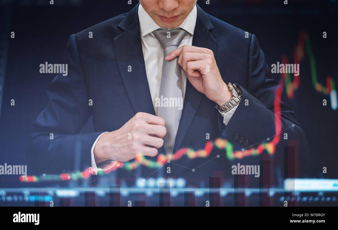 Double Exposure, Geschäftsmann binden Krawatte mit der Aufzucht Diagramm Diagramm Hintergrund. Wachstum und Stockbild