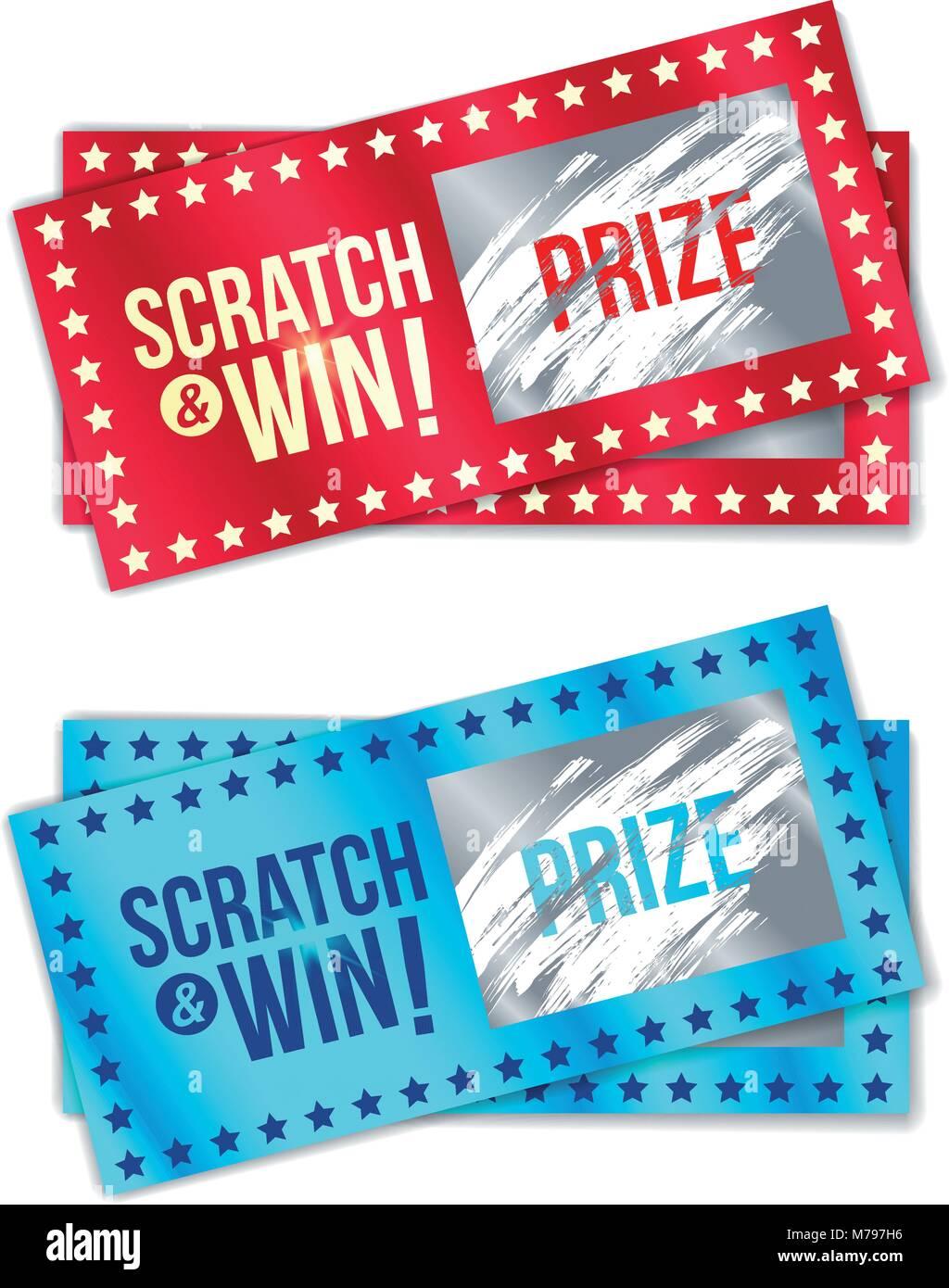 Scratch Card Game und gewinnen. Mit Wirkung vom Kratzer. Vektor ...