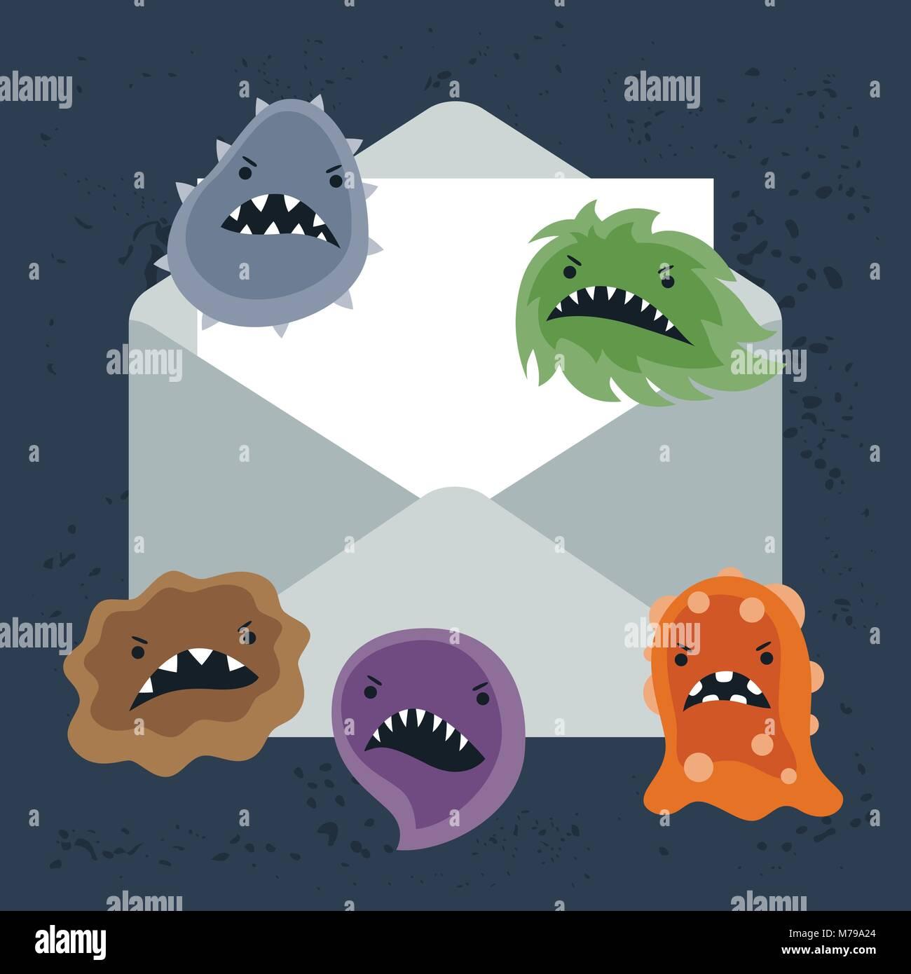 Abstrakte Abbildung e-mail Spam Virus Infektion. Stockbild