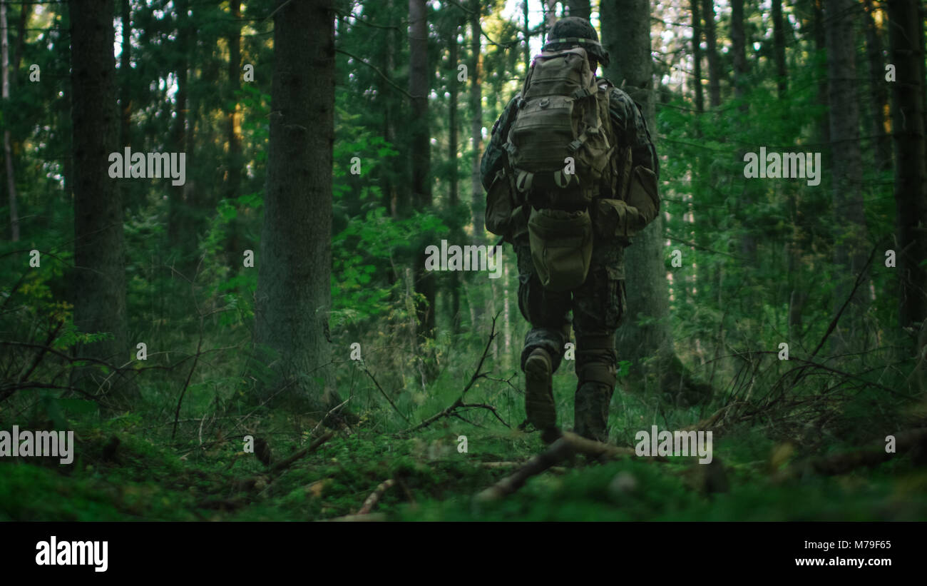 Schuß eines voll ausgestatteten Soldaten weiter in den dichten Wald. Er ist auf dem Luftschiff militärische Stockbild