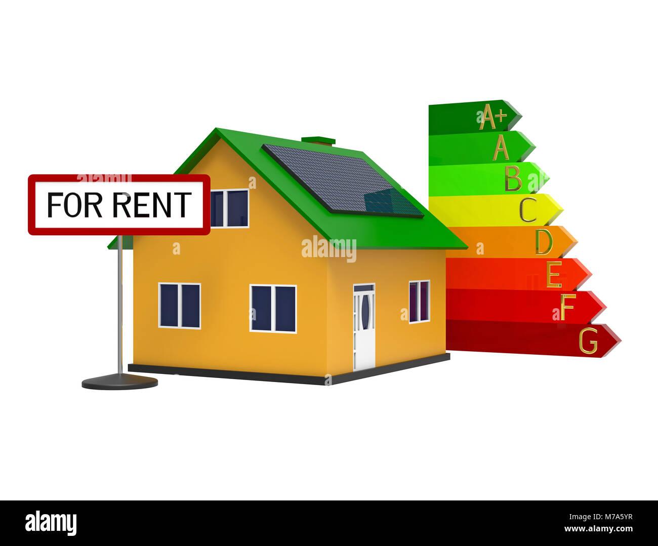 Haus Mit Solar Panel Für Mieten, 3D Rendering, Auf Weißem Hintergrund  Stockbild