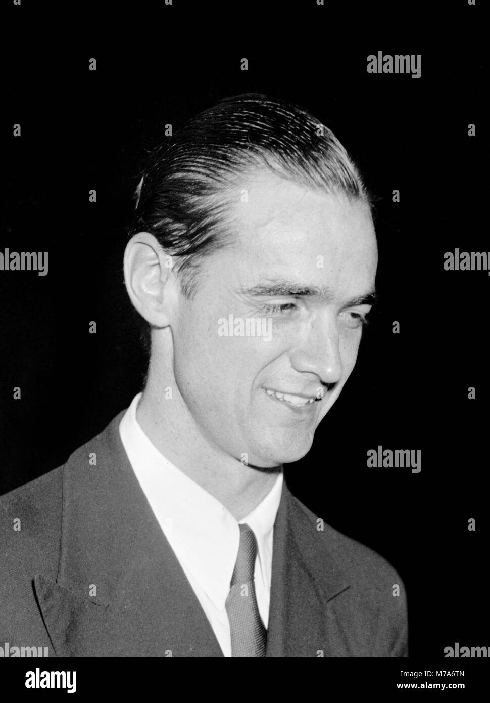 Howard Hughes (1905-1976) an der National Press Club in Washington DC am 21. Juli 1938. Foto von Harris und Ewing. Stockbild