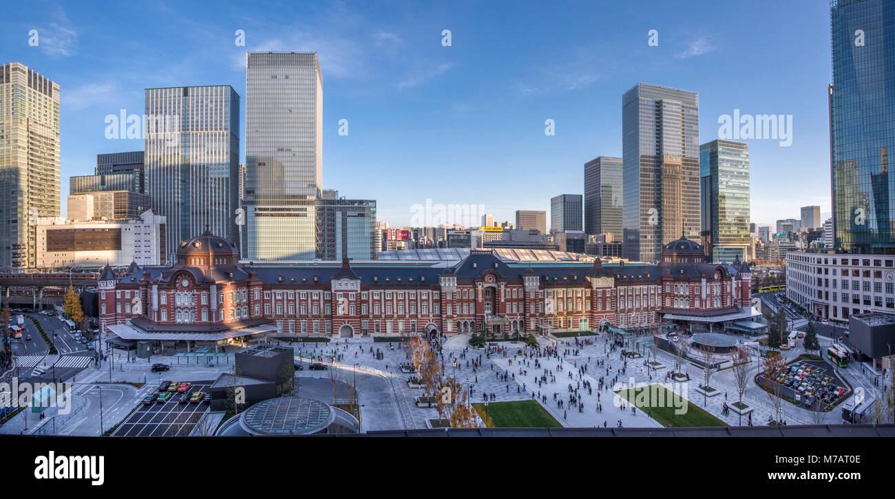 Japan, Tokyo, Stadt, Bezirk, Marunouchi Tokio Bahnhof West Side Stockbild