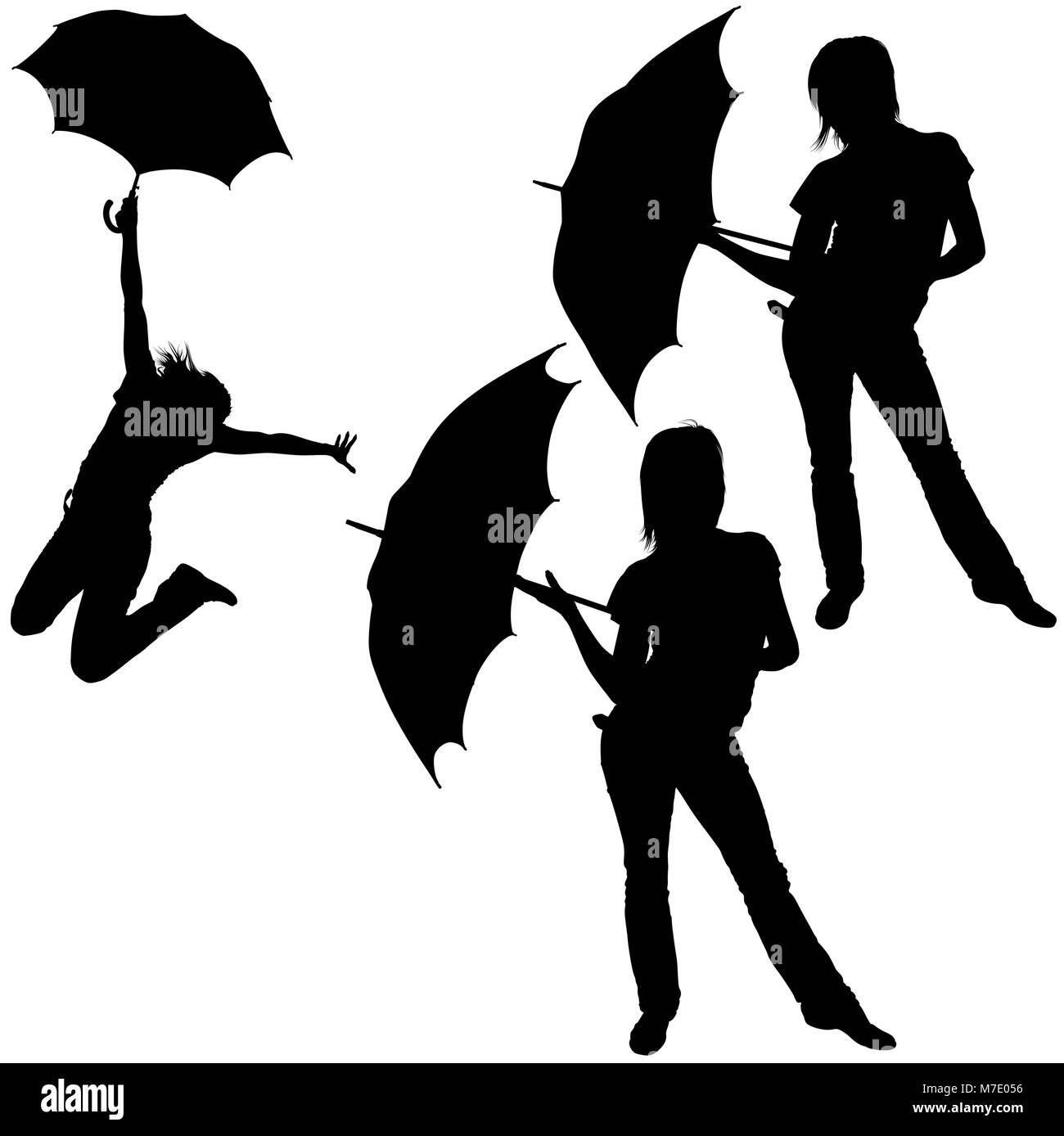 Silhouetted Mädchen Mit Schirm Vektor Abbildung Bild 176713746