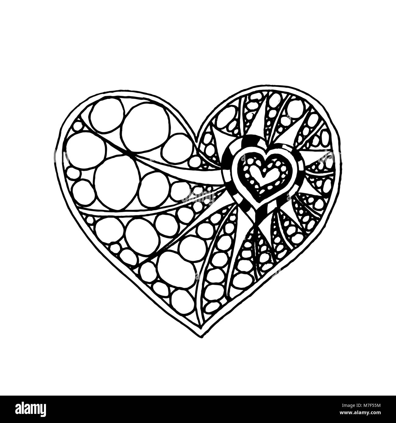 Vector Illustration von Doodle hand Herz gezeichnet. Färbung Seite ...