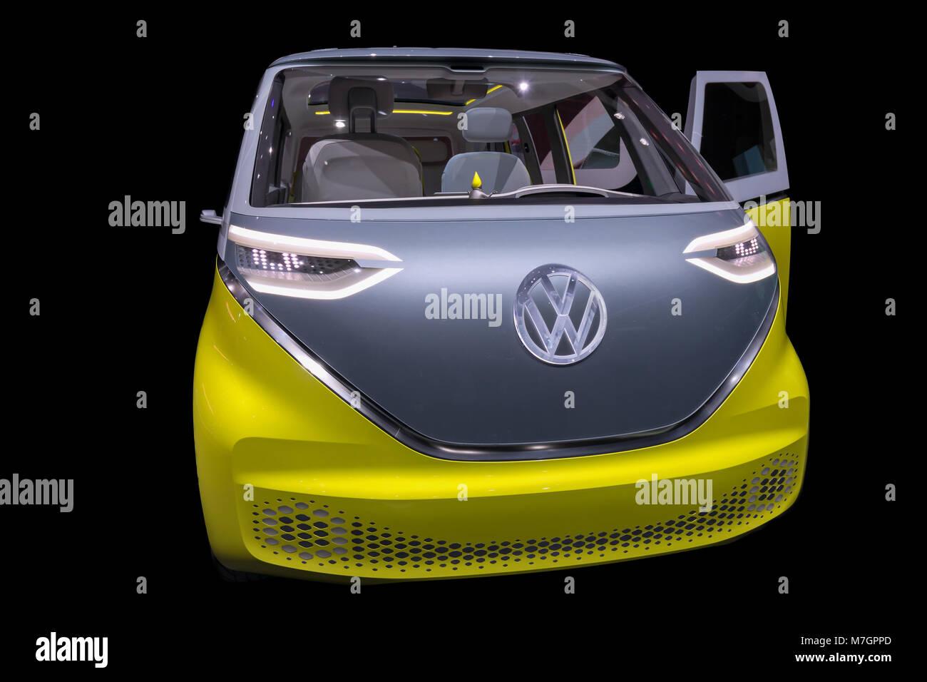 ID Buzz Microbus, Volkswagen, VW-Camper, Minibus, Automobilsalon Genf, Schweiz Stockfoto