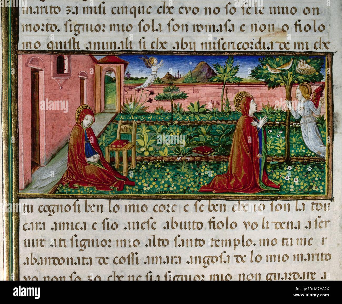 Anna's Gebet an die Engel. Codex von Predis, 1476. Königliche Bibliothek. Turin. Italien. Stockbild