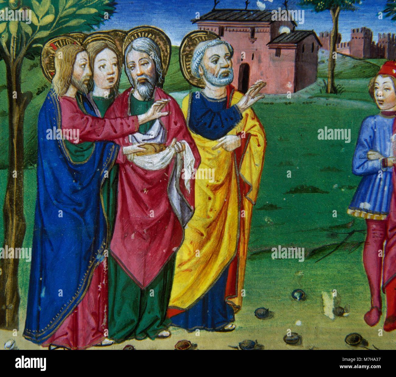 Die Jünger bitten Jesus, ihnen zu erlauben, klicken Sie Nahrung in der Stadt zu kaufen, da sie allein in der Stockbild