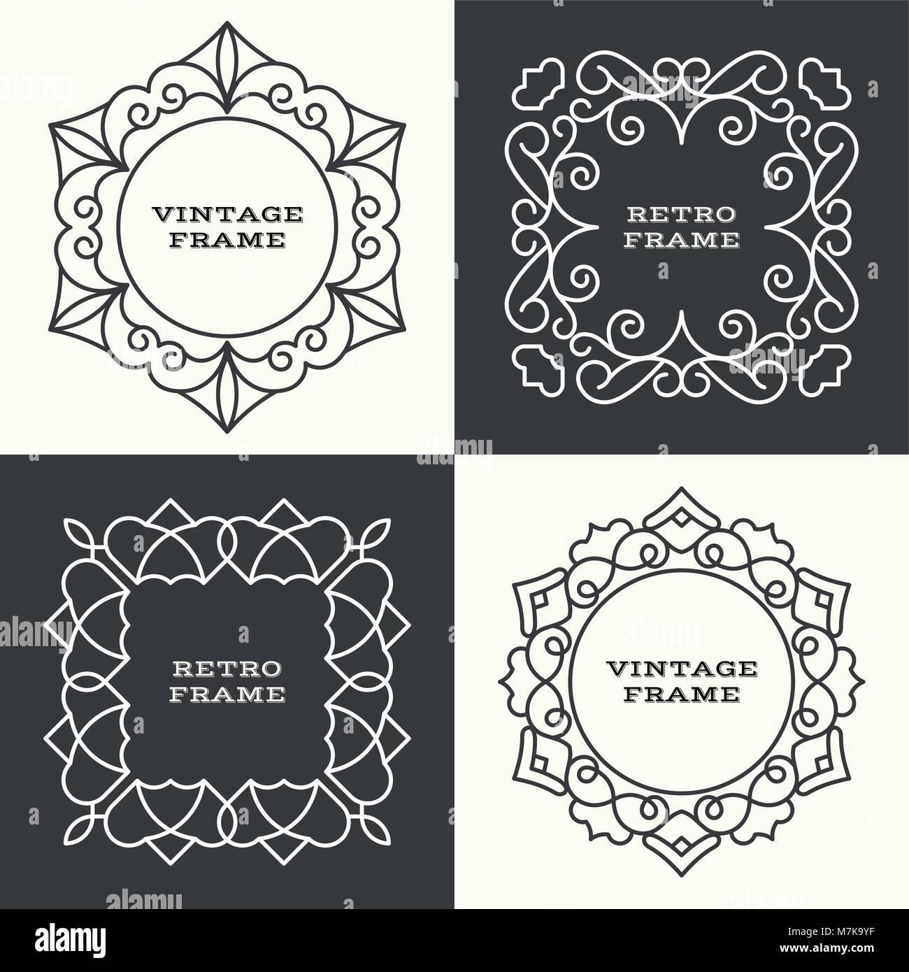Satz von Monogram Linie Vintage-Rahmen. Gruß-Karten. Hochzeits ...
