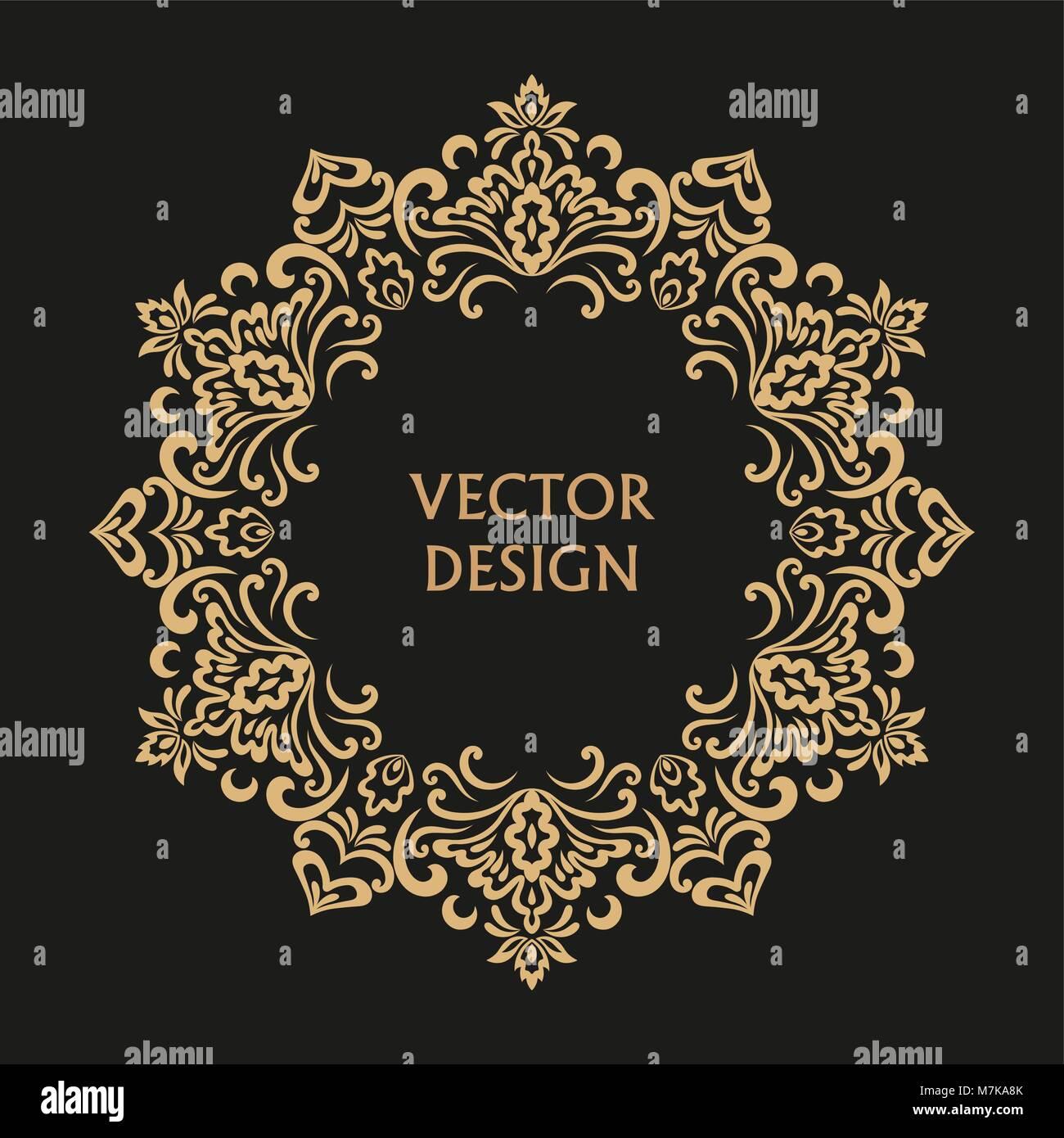Kreisformige Barocke Muster Runde Floralen Ornament Vintage Frame