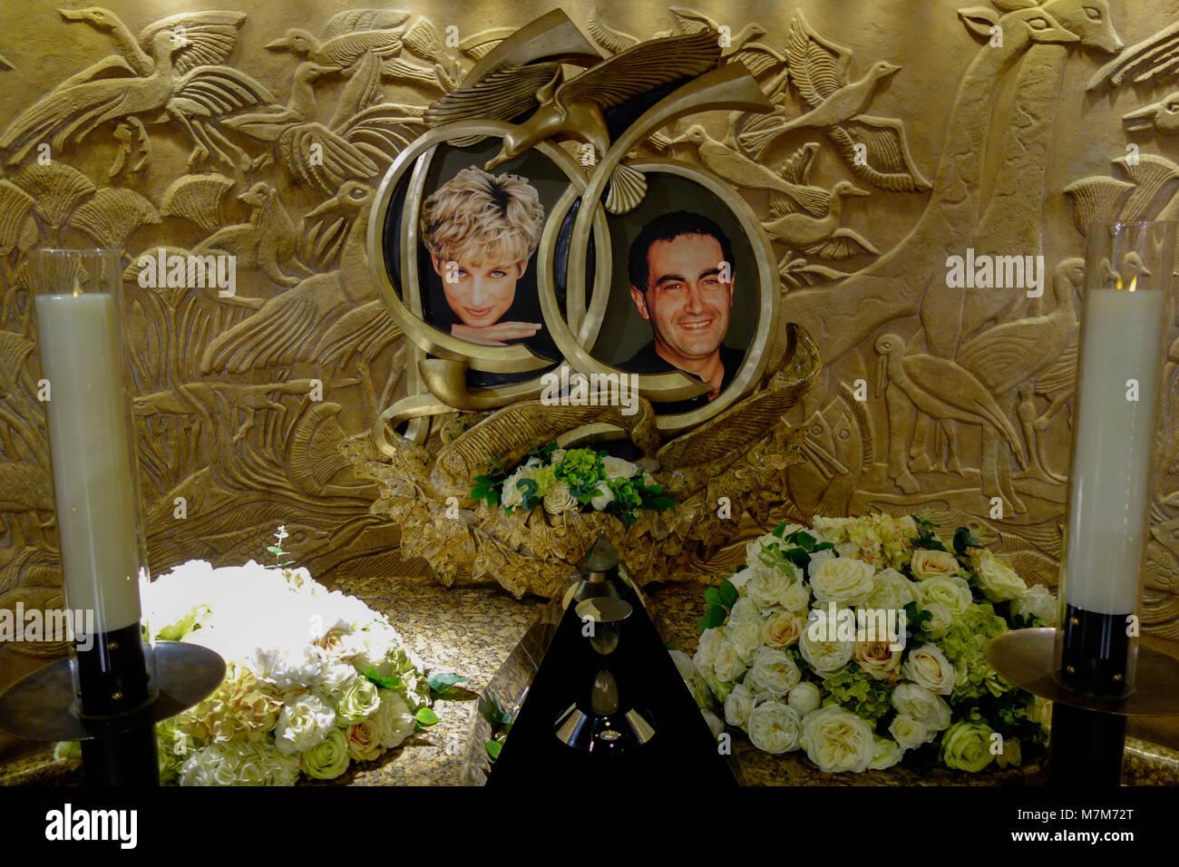 Prinzessin Diana von Wales und Dodi Fayed memorial Harrods Knightsbridge London, England. Stockbild