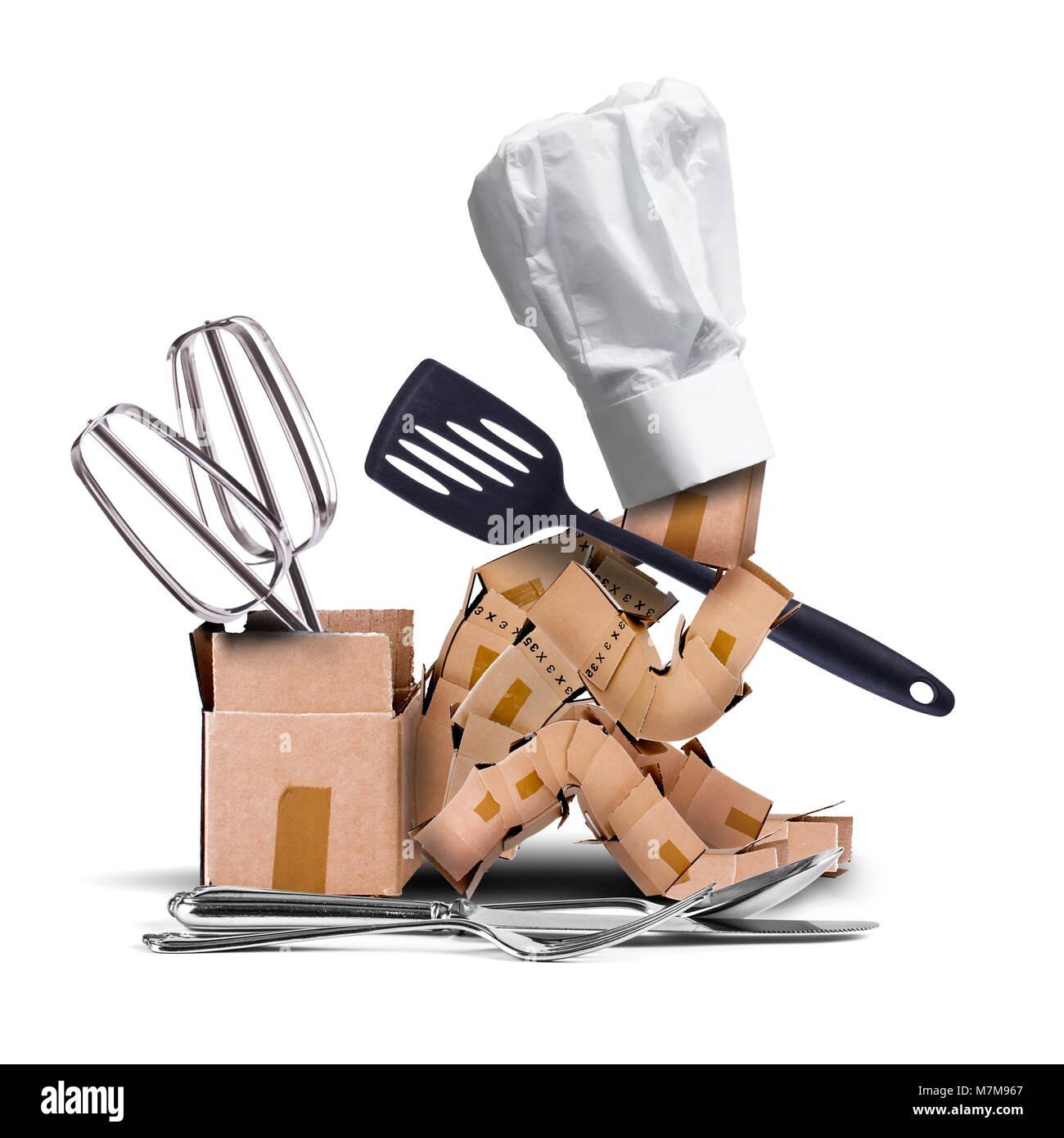 Koch box Charakter sat Denken mit Chefs hat und Küchengeräte ...