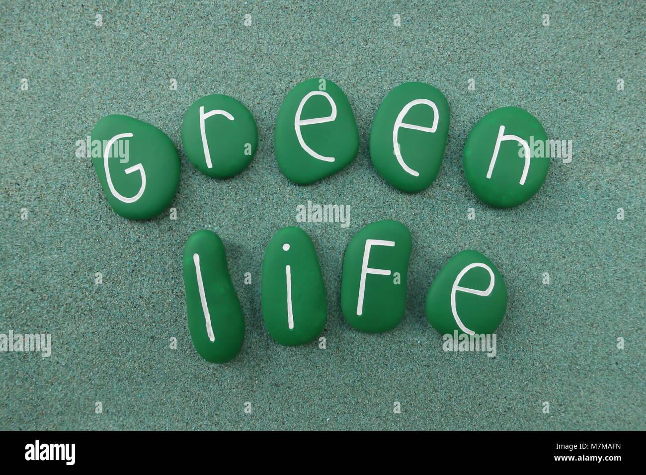 Grünes Leben Text mit grün bemalten Steinen über grünen Sand Stockbild