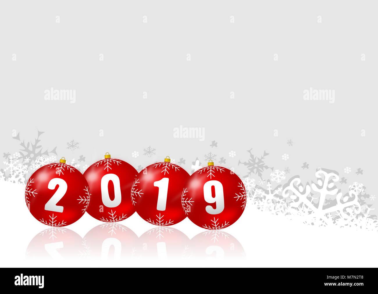 neujahr 2019 abbildung mit weihnachten kugeln auf wei en. Black Bedroom Furniture Sets. Home Design Ideas