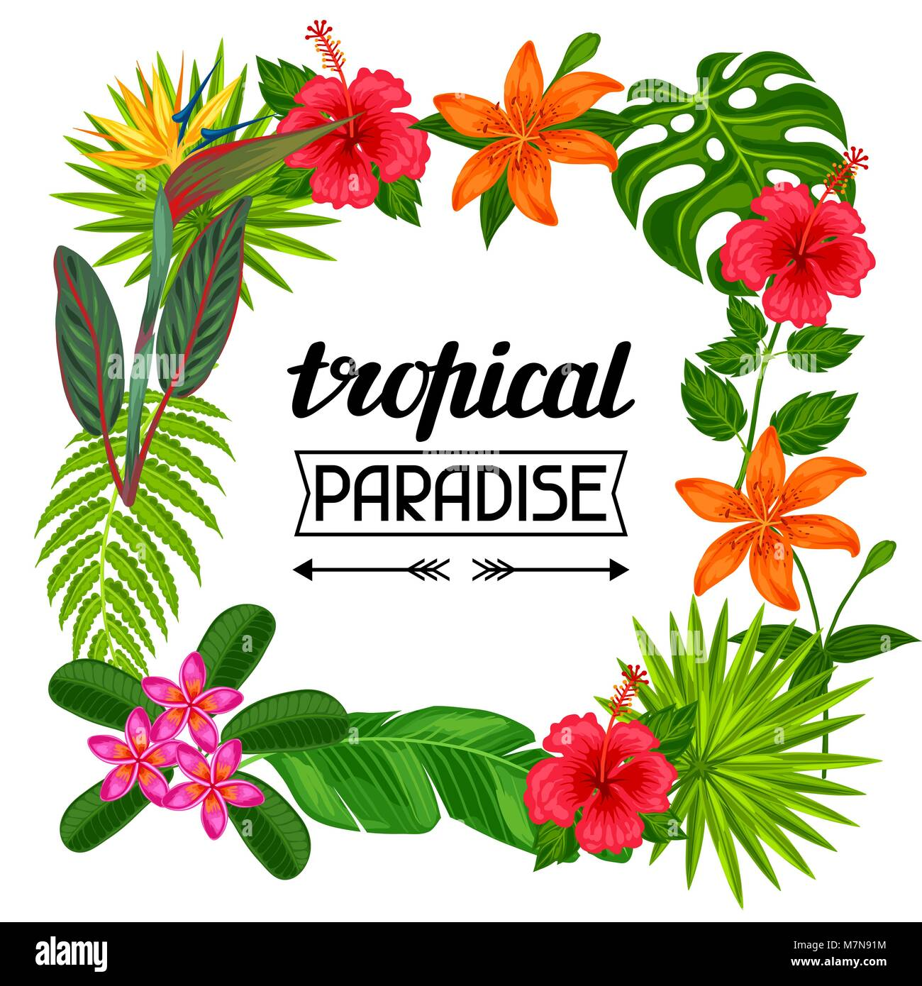 Tropisches Paradies Rahmen mit stilisierten Blätter und Blüten. Bild ...