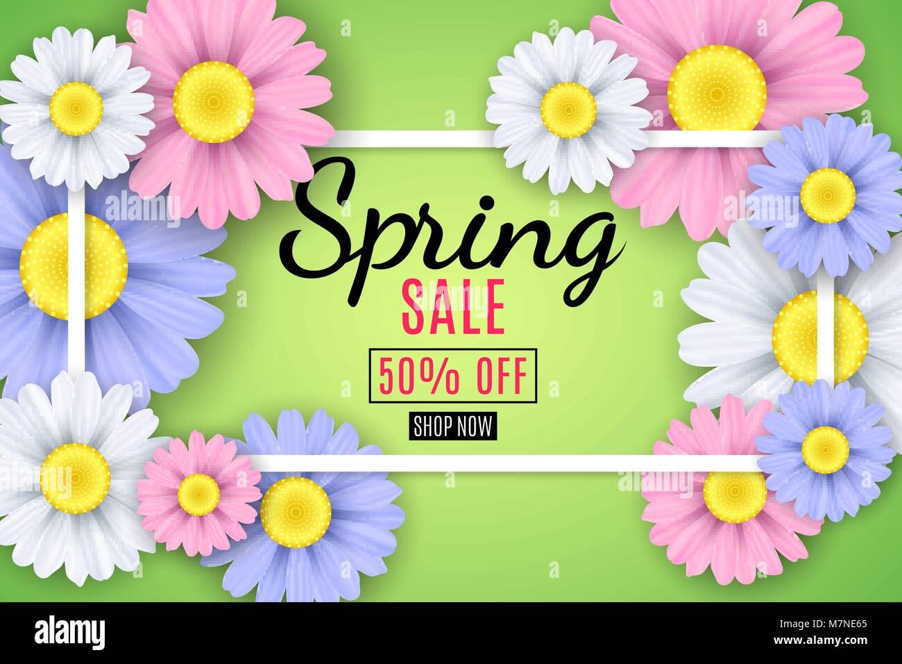 Frühling Verkauf Banner. Quadratische weiße Rahmen. Mehrfarbigen ...