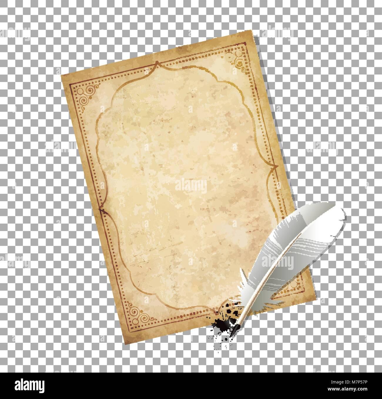 Weiße Feder Feder mit Tinte splatter und alten Papyrus mit eleganten ...
