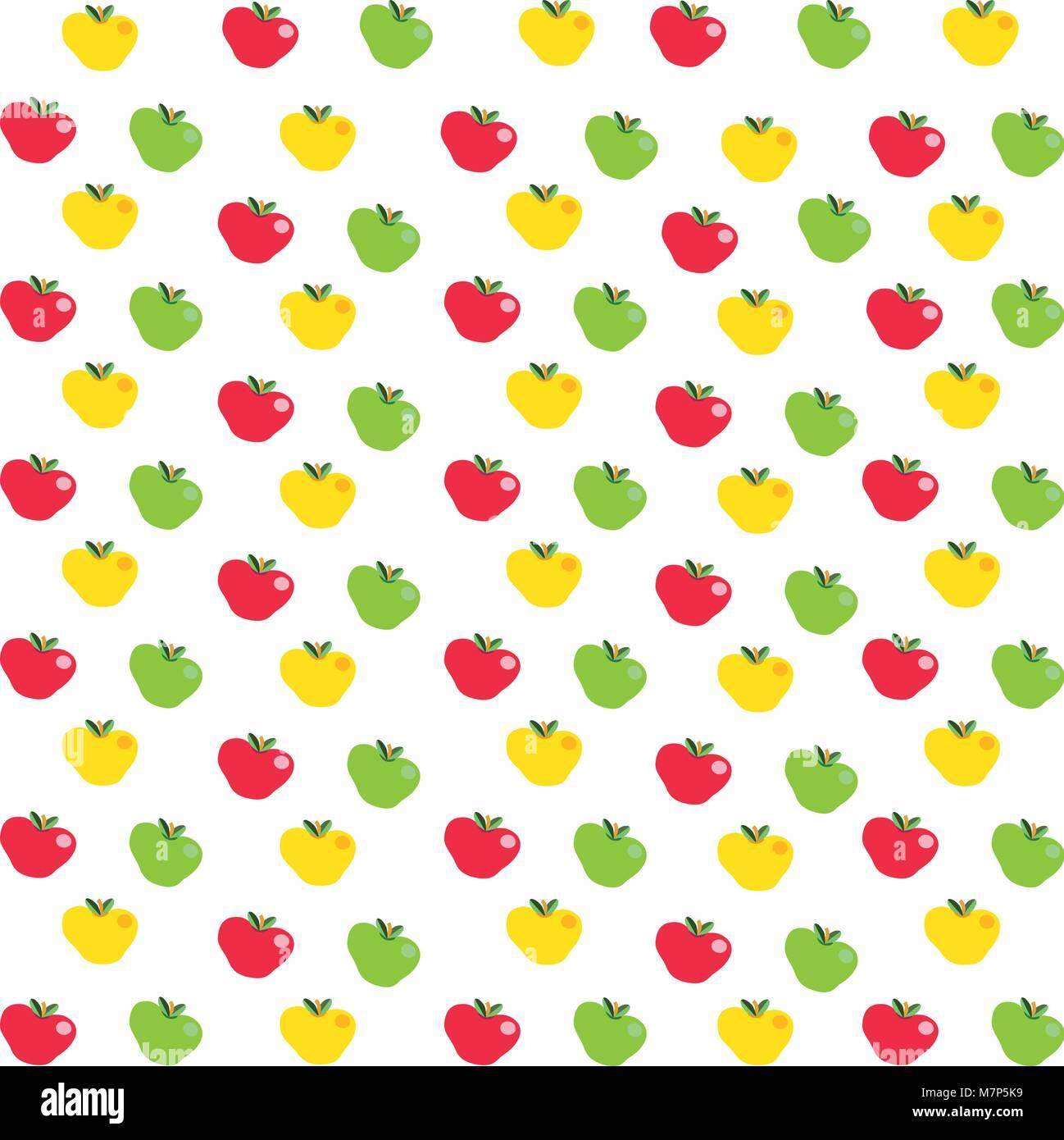 Nahtlose Muster Mit Cartoon Rote Gelbe Und Grüne äpfel Auf
