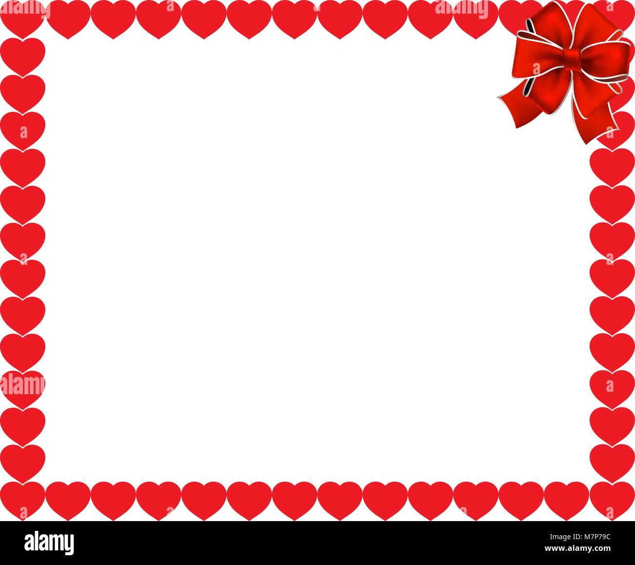 Valentines Tag oder Hochzeit Hintergrund. Rote Herzen Grenze Rahmen ...