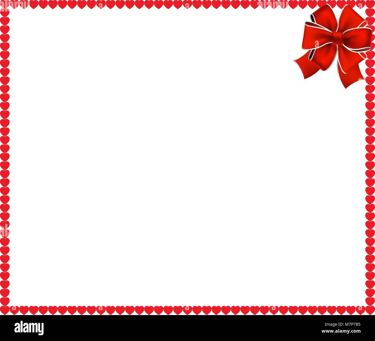Red cartoon Herzen Rahmen mit festlichen Band in der Ecke auf weißem ...