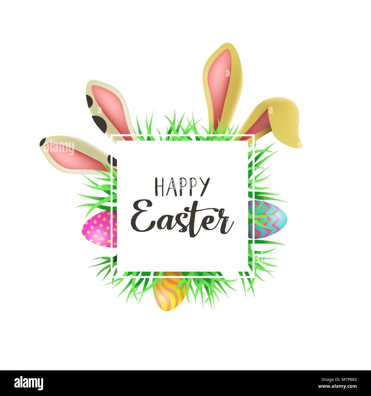 Frohe Ostern Grußkarte Abbildung Mit Niedlichen Kaninchen Ohren Und
