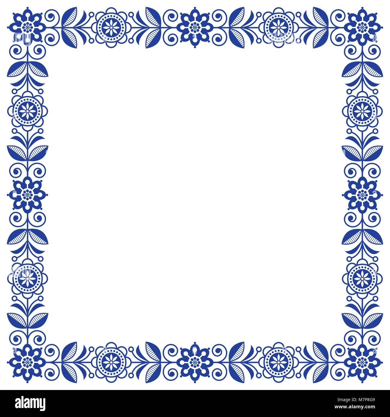Skandinavische Volkskunst vektor Rahmen, florale Süße, quadratischen ...