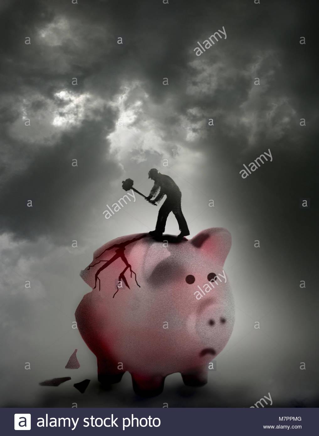 Arbeiter brechen in große Sparschwein mit vorschlaghammer Stockbild