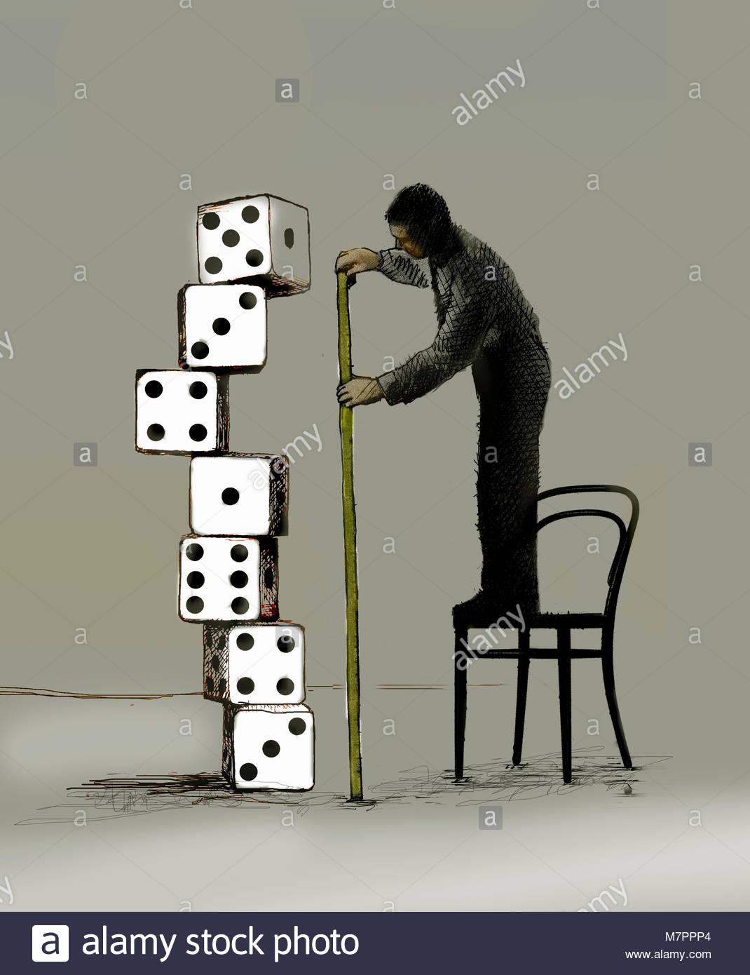 Unternehmer stehen auf Stuhl Messung Stapel der Würfel Stockbild