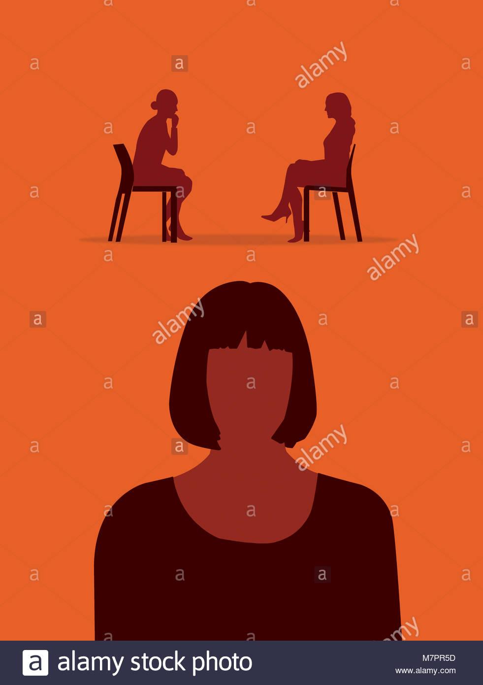 Frau über Therapie denken Stockbild