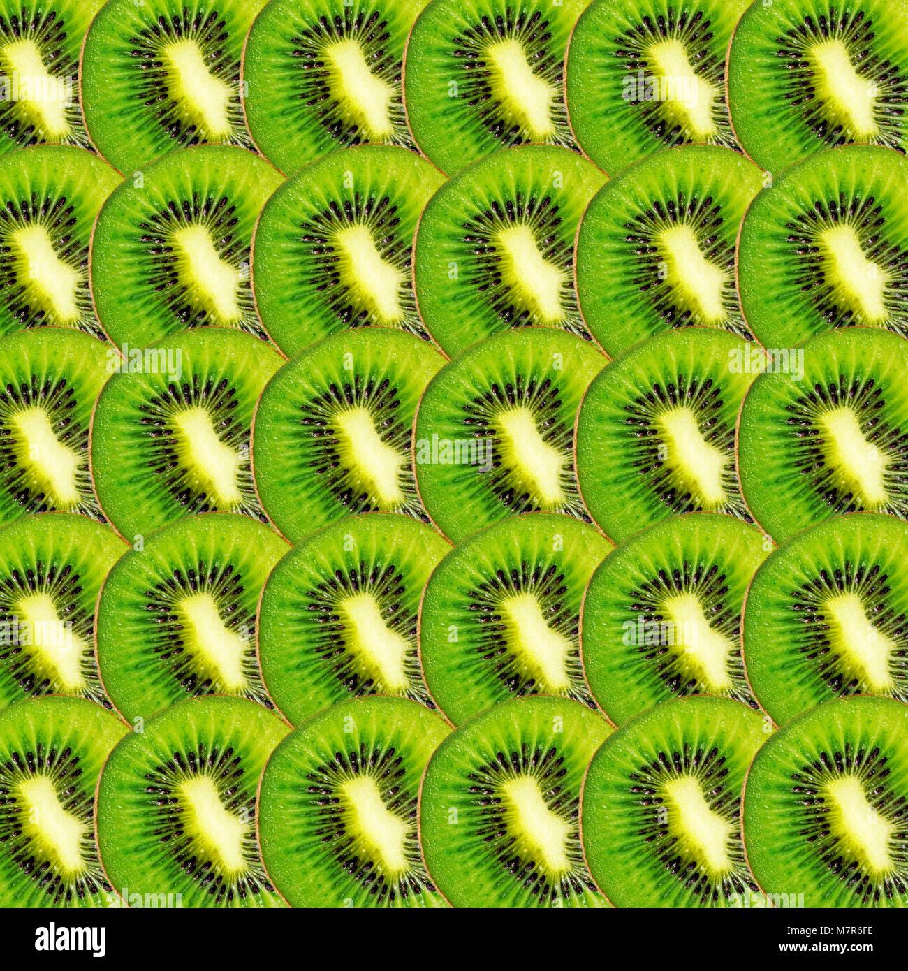 Grüne kiwi Scheiben Textur, Real Photo essen Hintergrund Stockfoto