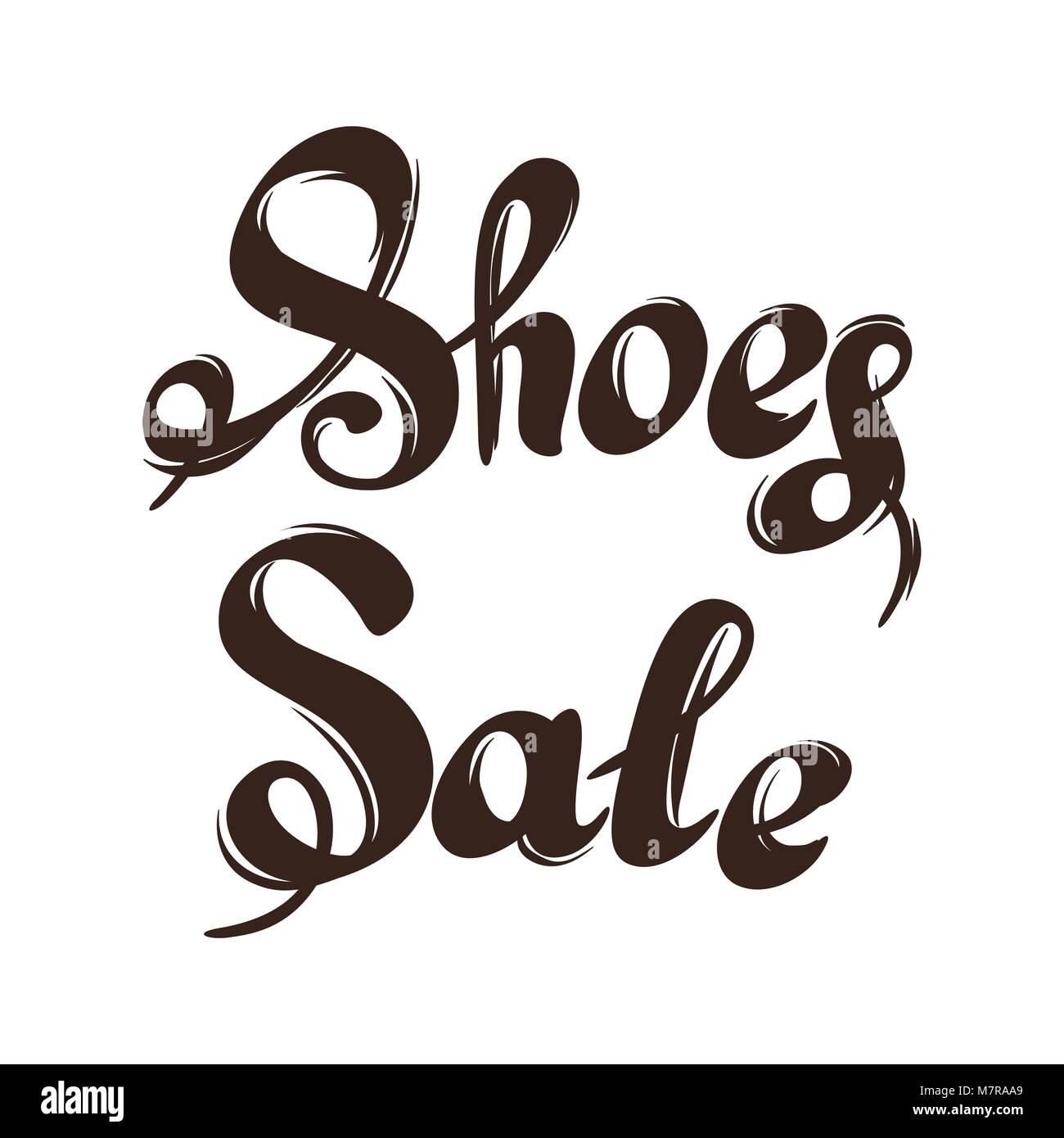 Schriftzug Verkauf Schuhe Hand Werbung Abbildung Gezeichnet Vektor