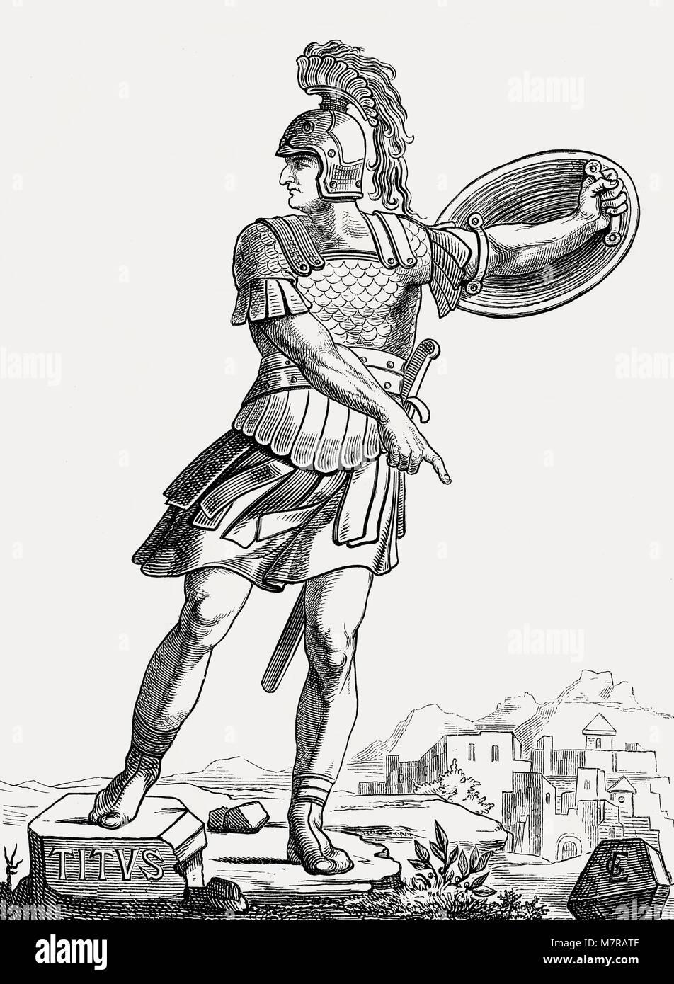 Titus oder Titus Flavius Vespasianus Augustus Caesar, 39 - 81, Römischer Kaiser von 79 bis 81 Stockbild