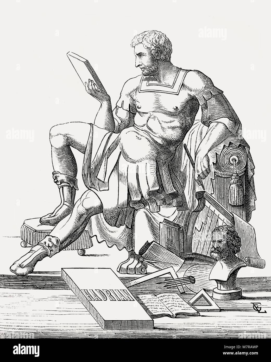 Hadrian oder Publius Aelius Hadrianus Augustus, 76 - 138, Römischer Kaiser von 117 bis 1. Stockbild