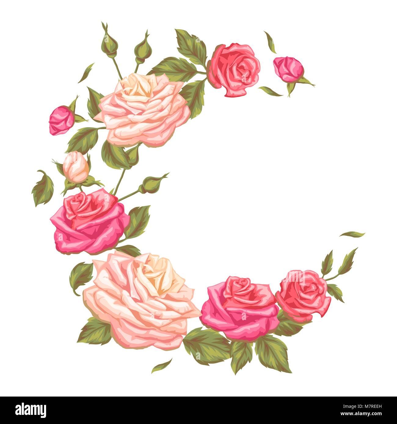 Rahmen mit Vintage Roses. Dekorative retro Blumen. Bild für ...