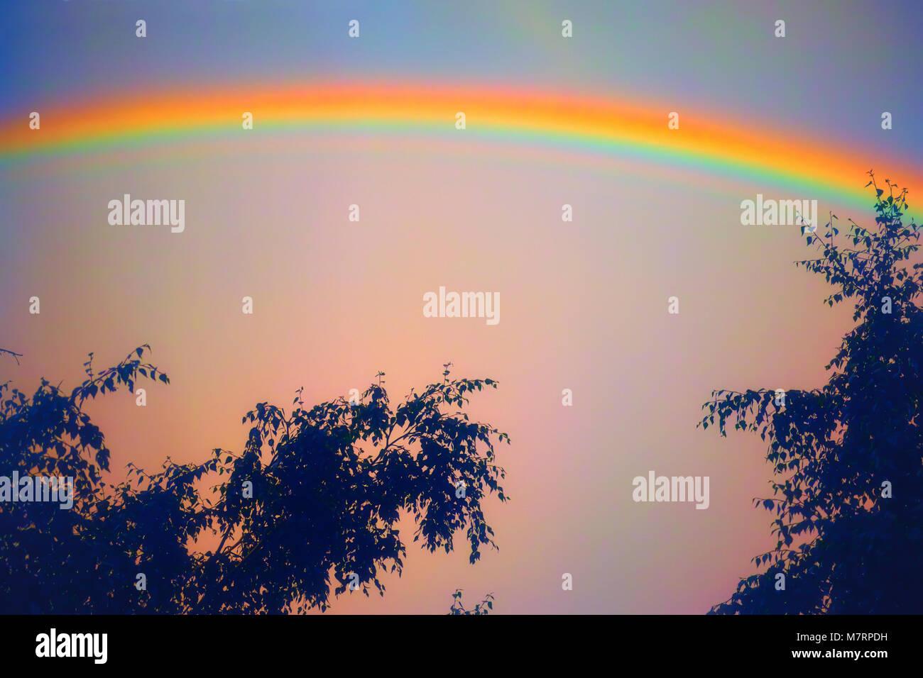 Regenbogen über blauen Himmel. Natürliches Phänomen. Stockfoto