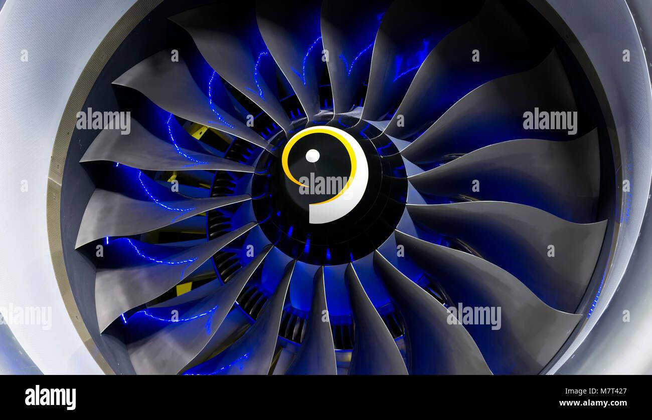 Turbo-jet Motor des Flugzeugs in der Nähe Stockbild