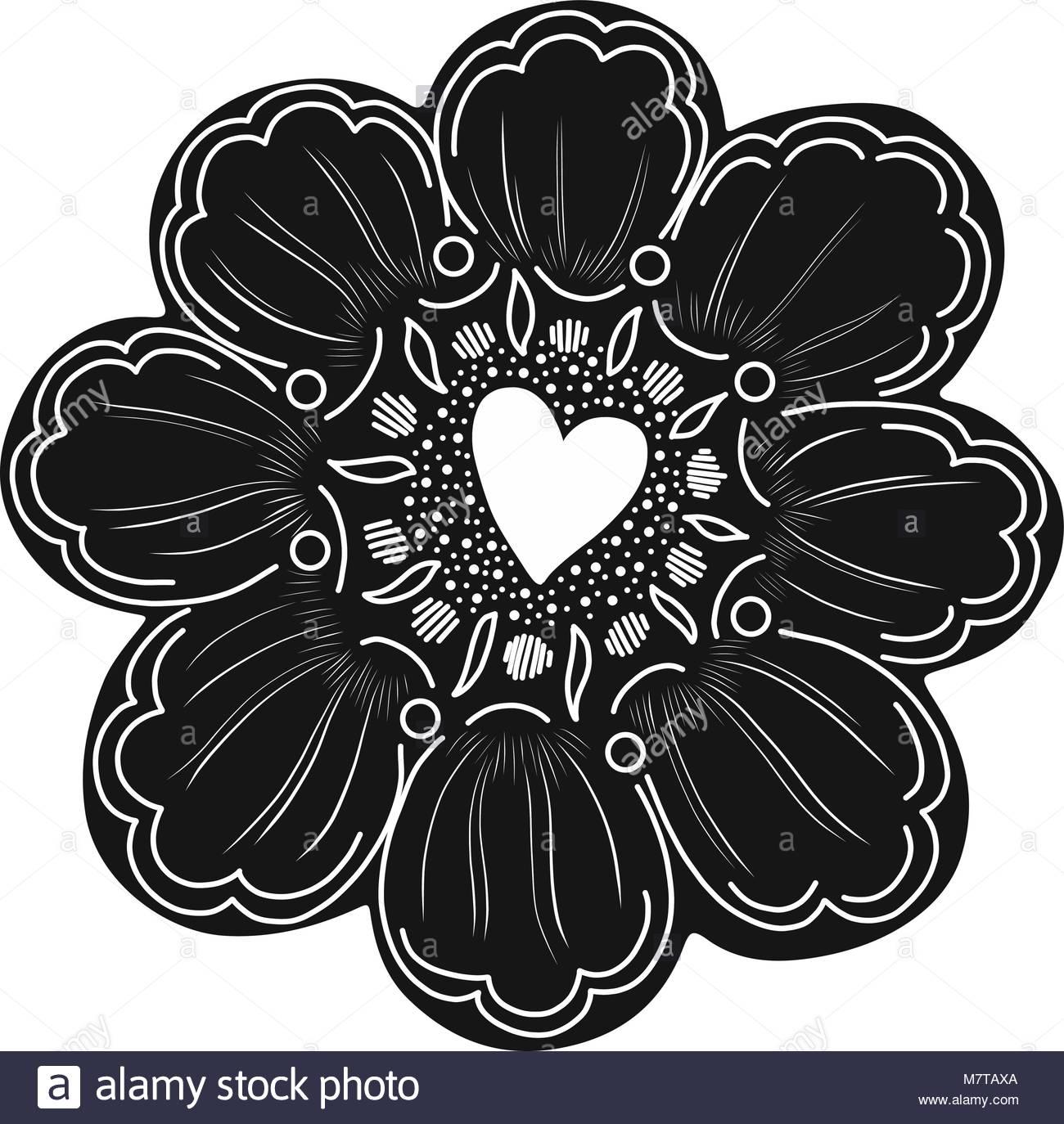 Einfache Blume Element mit Doodle Dekoration. Einfach Farbe zu ...