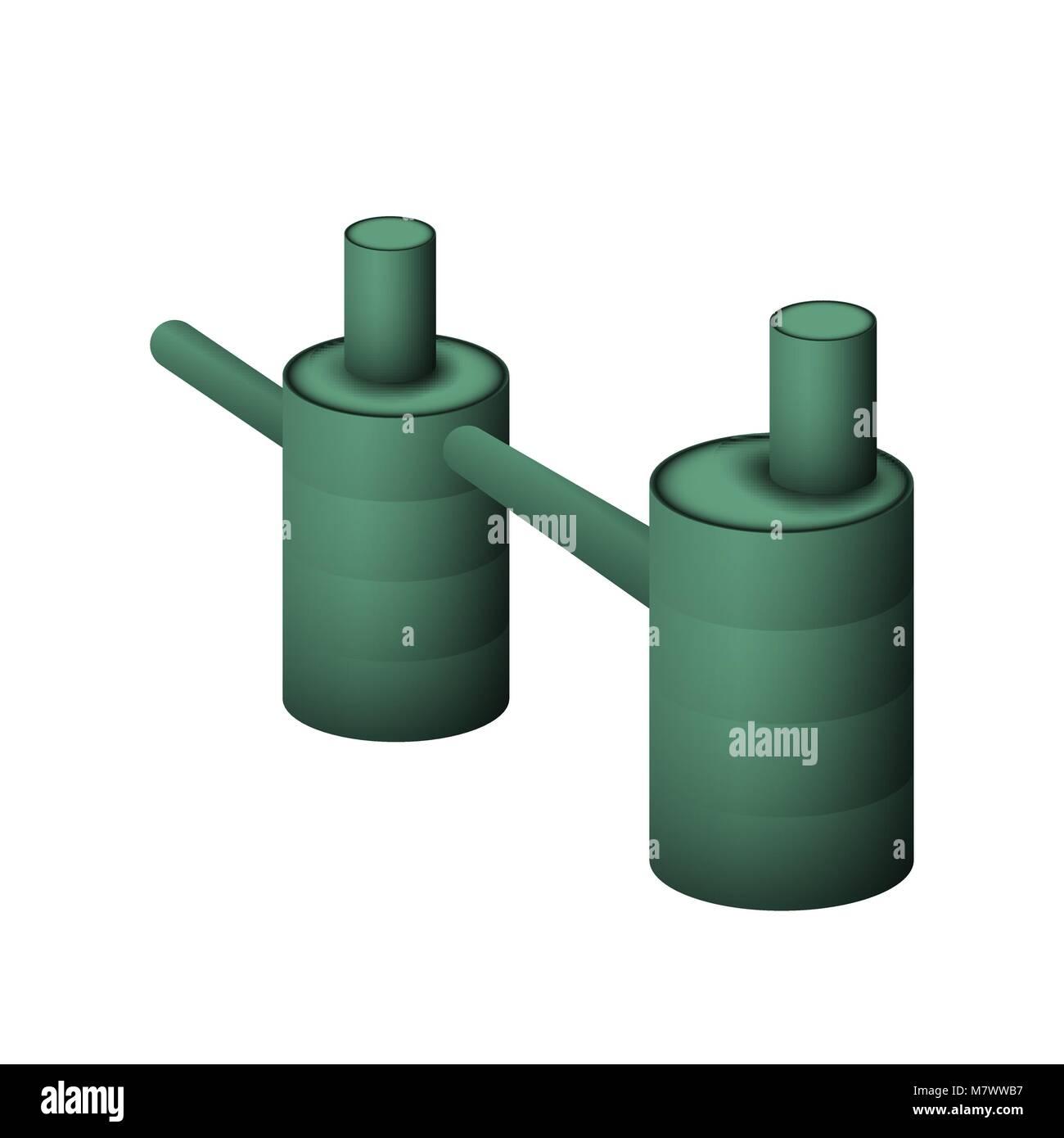 Zwei Grüne Septischen Tank Vector Illustration. Das System Der Kanalisation  Und Entwässerung Für Stockbild
