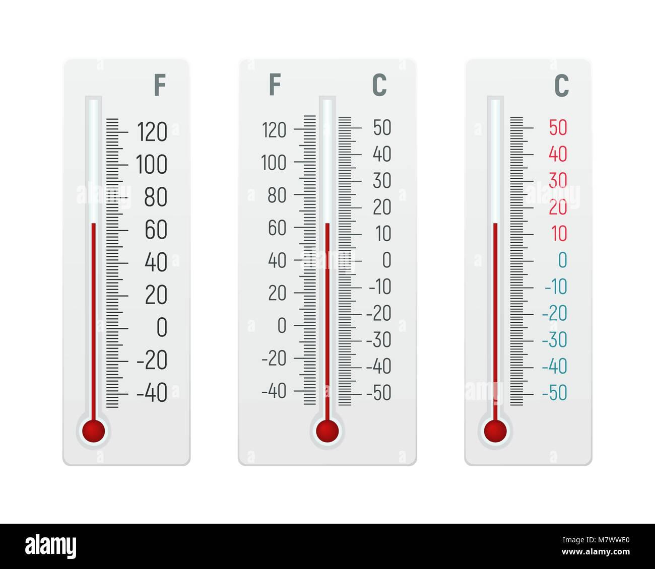 Satz von Alkohol thermometer Vector Illustration. Messung der ...