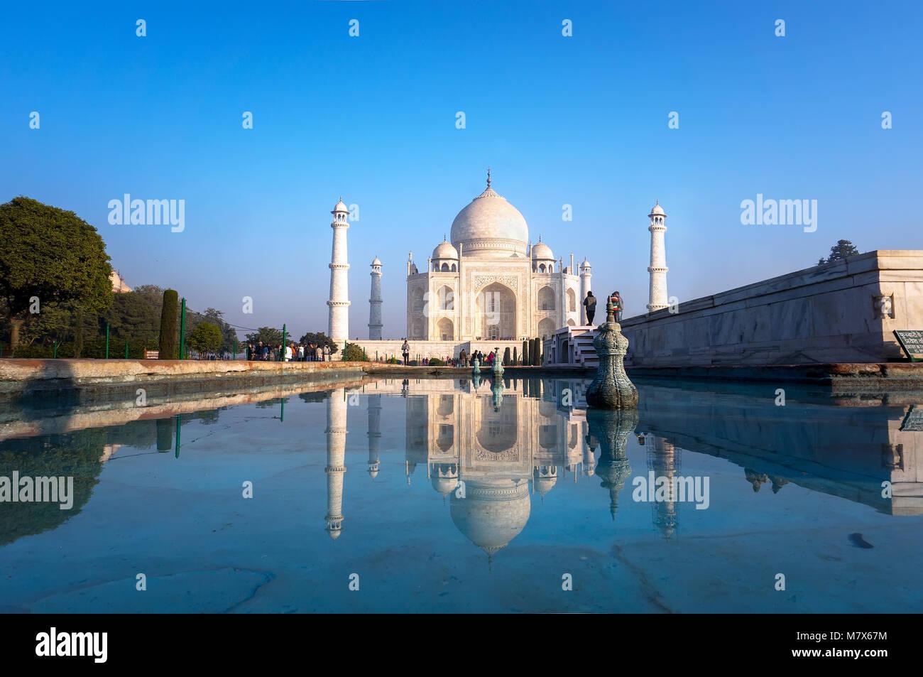 Taj Mahal auf Sonnenuntergang Stockbild