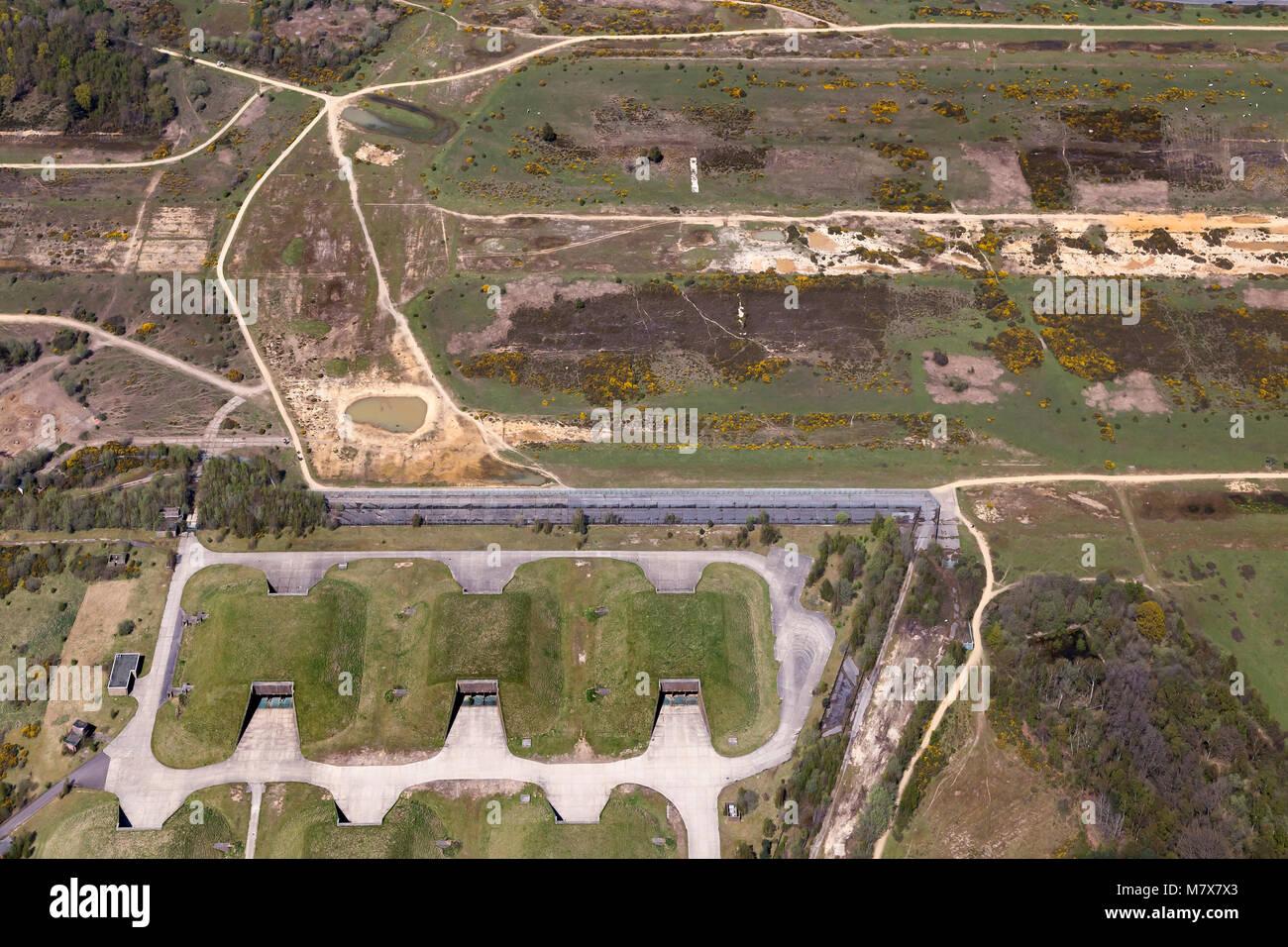 RAF Greenham Common, einem ehemaligen Royal Air Force Station in Berkshire, England. Schauplatz vieler Proteste Stockbild