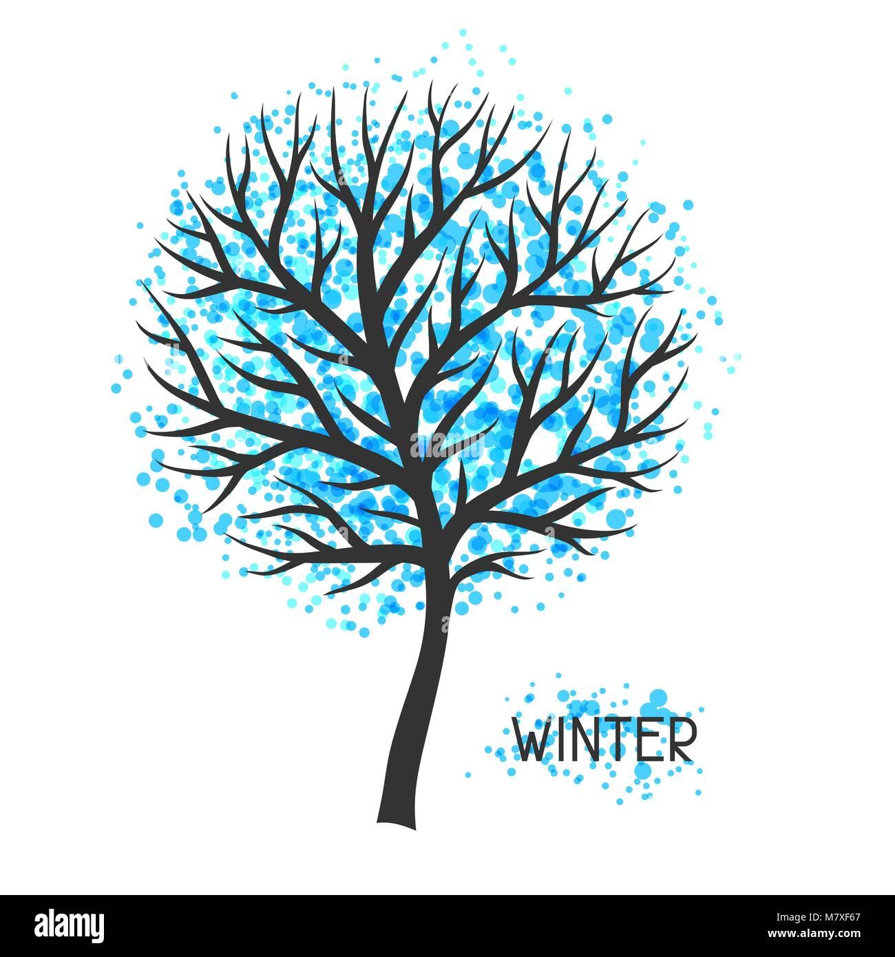 Hintergrund mit Winter Baum. Abbildung: Silhouette und abstrakte Flecken Stock Vektor