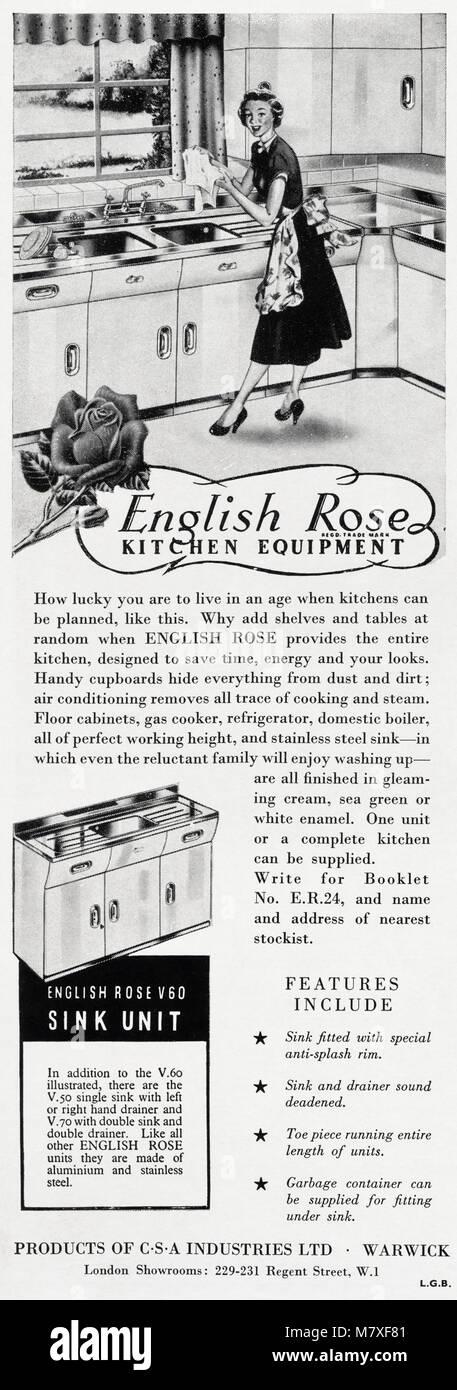 1950s original alten Vintage Werbung Werbung English Rose Küchen von ...