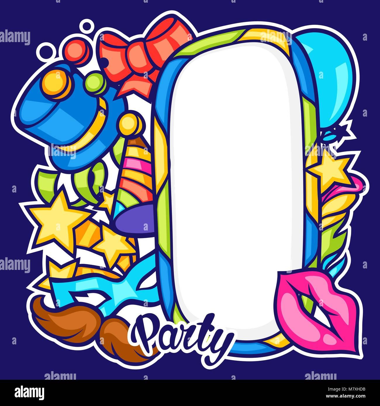 Feier party Rahmen mit Karneval Symbole und Objekte Vektor Abbildung ...