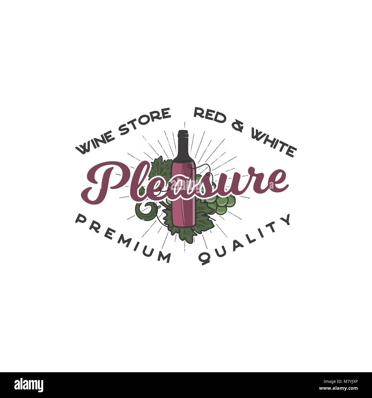 Wein shop Logo Vorlage Konzept. Flasche Wein, Rebe Symbole und ...