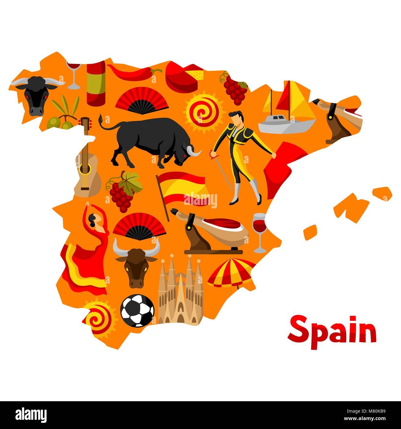 Spanische Karte.Karte Von Spanien Hintergrund Design Spanische