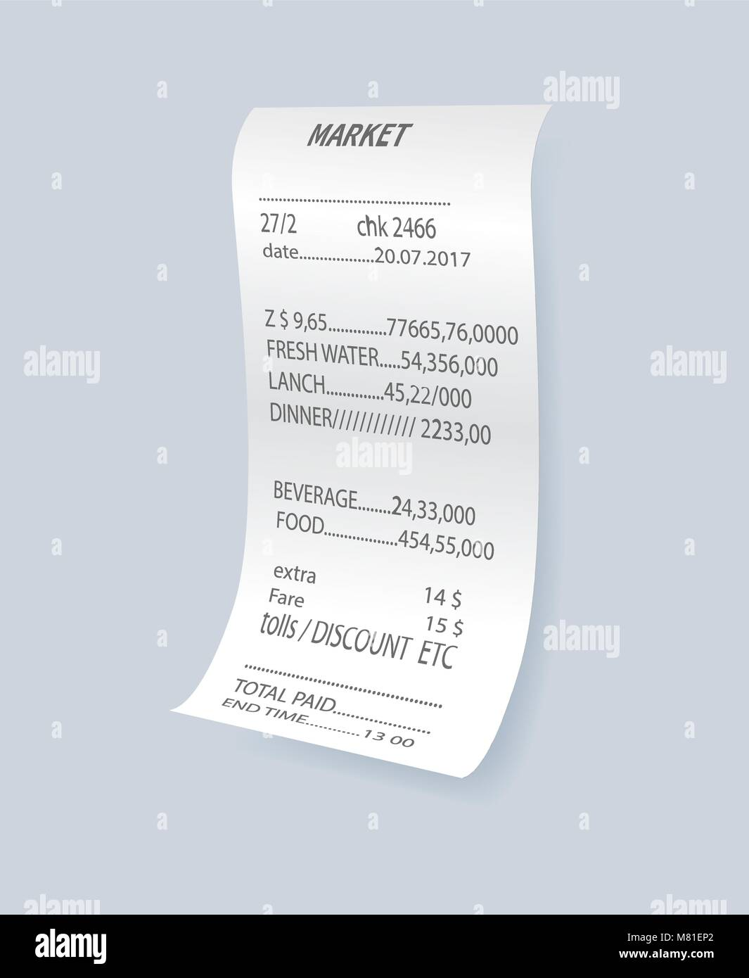 Supermarket Paper Check Receipt Bill Stockfotos & Supermarket Paper ...